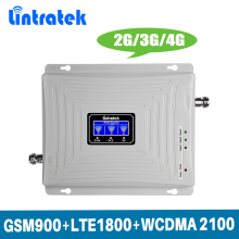 Lintratek 2G 3G 4G GSM Signal Repeater Tri Band Booster 900 LTE 1800 UMTS 2100MHz Mobile Amplifier