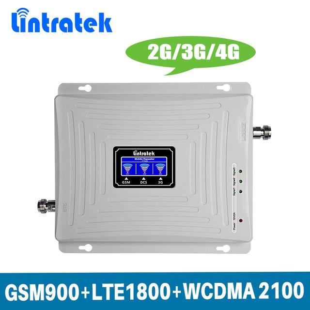 Lintratek lcd ekran 2G 3G 4G Üç Bant Sinyal Güçlendirici GSM 900/DCS LTE 1800/WCDMA UMTS 2100 MHz Mobil Sinyal Tekrarlayıcı Amplifikatör