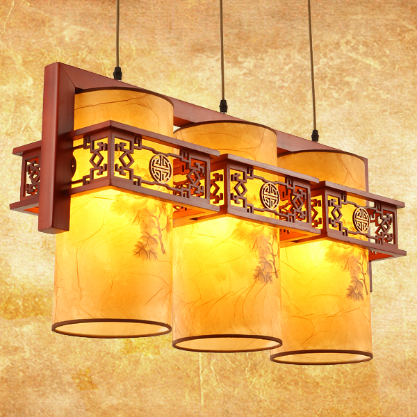 Modern Chinese style wood pendant lights dinner LED lamp office lighting living room bedroom 1/3 heads pendant lamps ZA