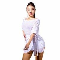2018 Sexy Lady Latin Dance Tops S XXL Chiffon Straps Top Practice Dance Tops Tango Dance Blouse For Women