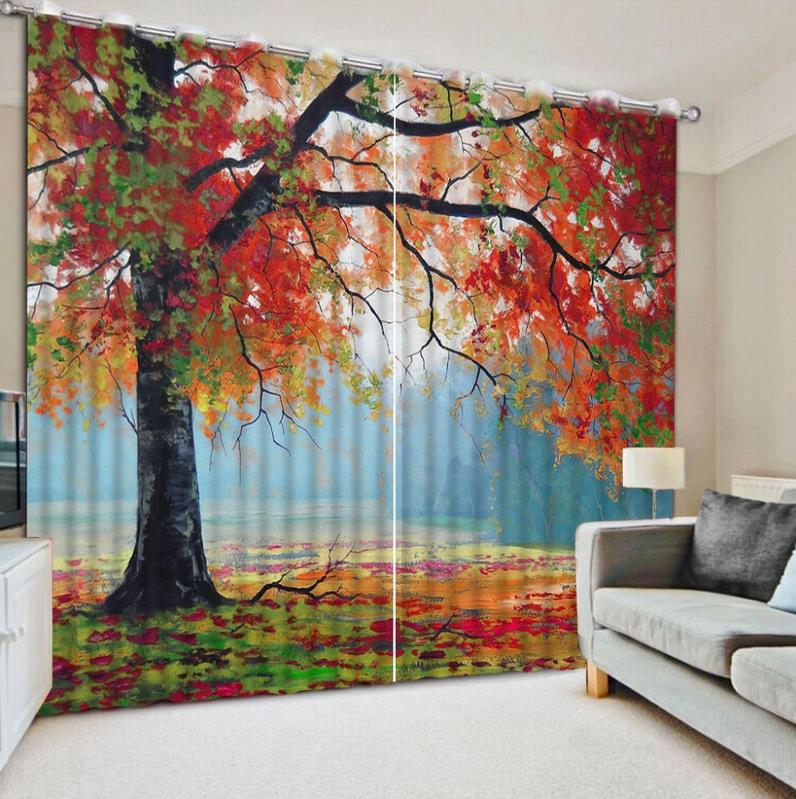 Modern 3d Large Curtains For Living Room Red Tree Scenery 3d Curtains For Bedroom Kids Room Curtain Ployester Drapes