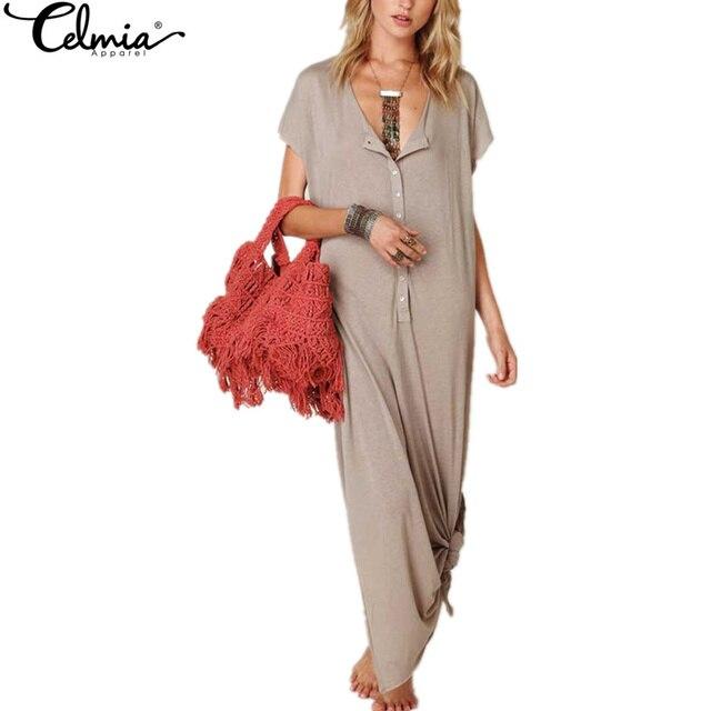 CELMIA Casual Solid Long Summer Dress 2017 Ladies Short Sleeve O-neck Side Split Loose Beach Maxi Dresses Plus Size Vestidos