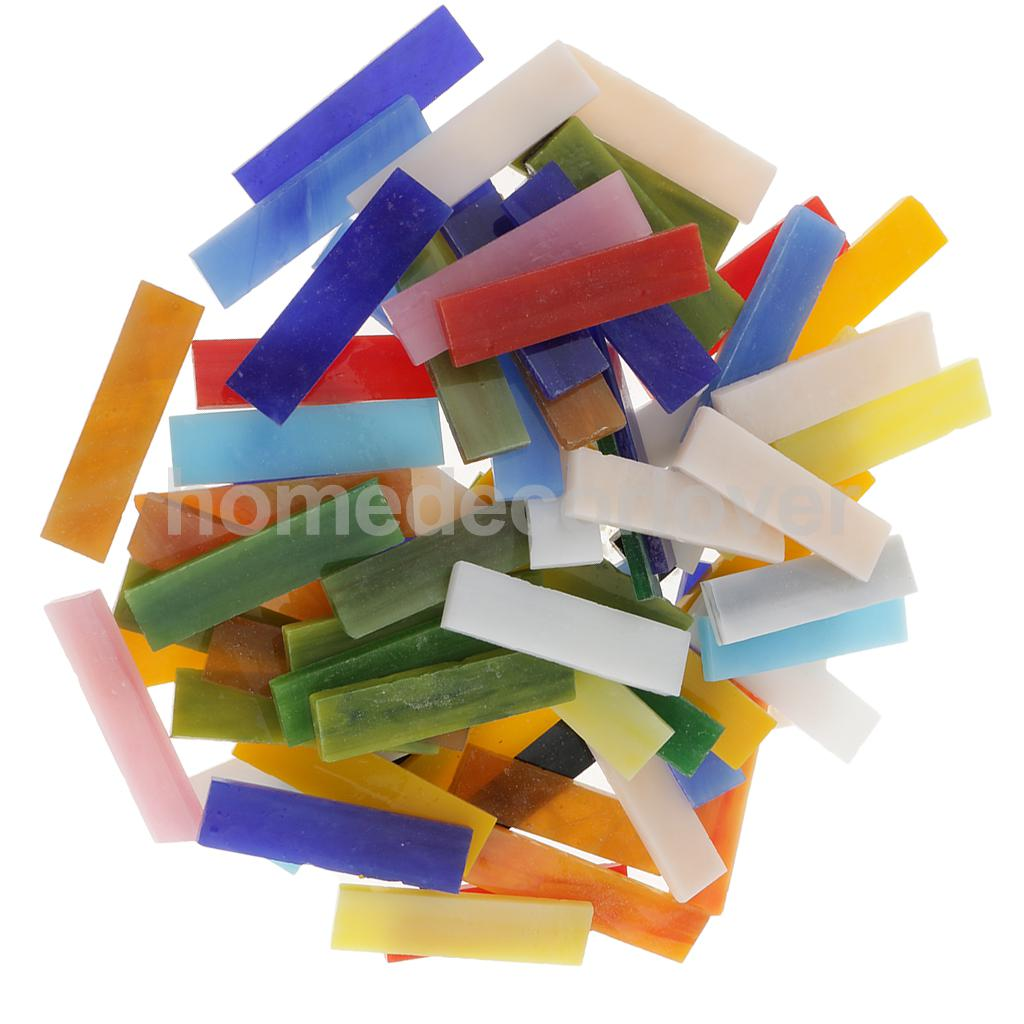 Mosaic glass tile for crafts - 70pcs Rectangle Shape Mixed Color Glass Mosaic Tiles Tessera For Mosaic Making Crafts Supplies 10x40mm