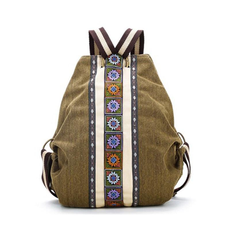 Tribal Ethnic Canvas Womens Backpack Pouch Hippie Shoulder Bag Girls Boho Rucksack tribal vintage hmong thai indian ethnic boho hippie ethnic bag rucksack backpack bag sys 174