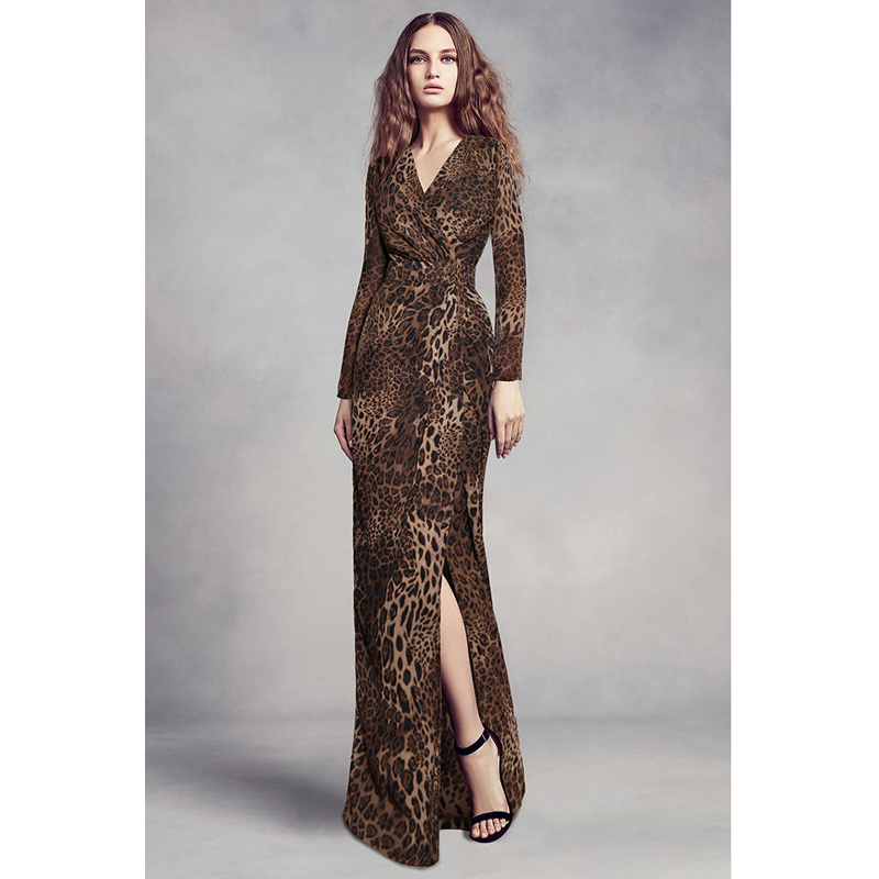 Animal print luipaard elegante feestjurk uitgaan datum diner jurken voor vrouwen wrapped v hals lange mouwen hoge split maxi jurk-in Jurken van Dames Kleding op  Groep 1