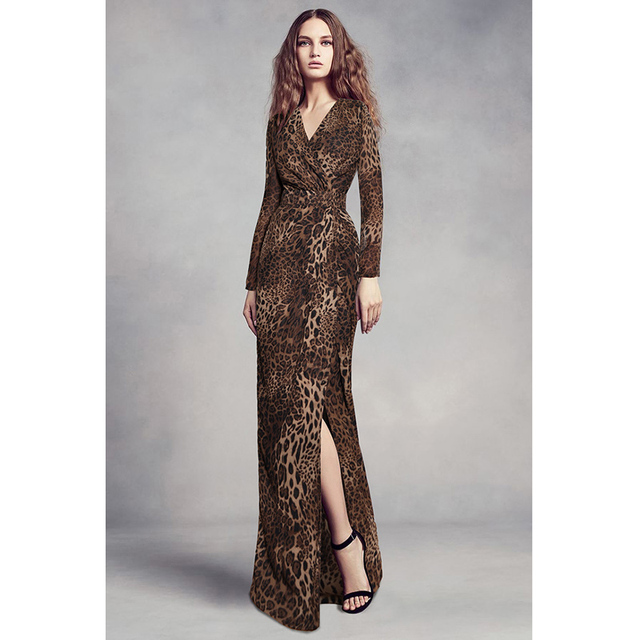 animal print leopard elegant party dress going out date dinner dresses for  women wrapped v neck long sleeve high slit maxi dress aa78c9cc6