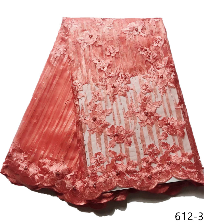 2019 Newest Lace Fabric Red African Tulle Lace Fabric High Quality Net French Lace Fabric For Nigerian Wedding Party 612 in Lace from Home Garden