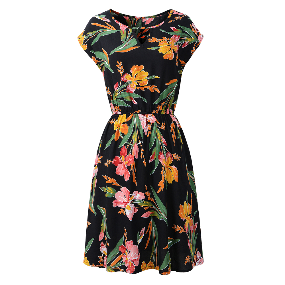 black flower dress women sundress mini round neck quality dress top elastic waist plain dress fashion beach casual dress in Dresses from Women 39 s Clothing