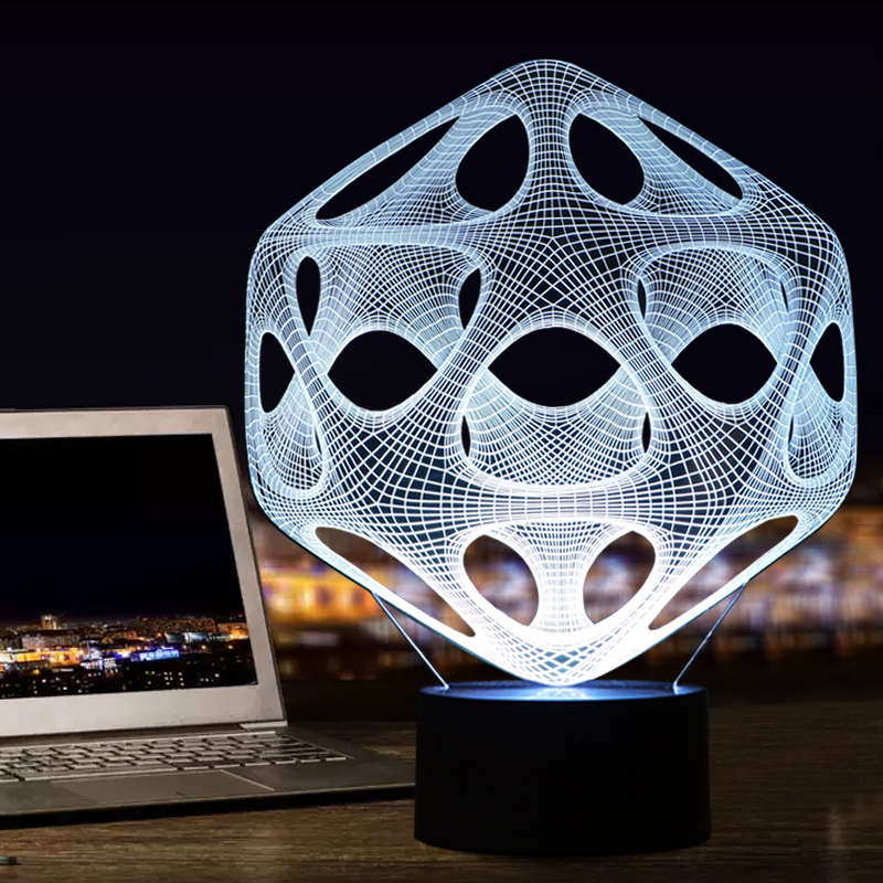 Artistic 3D LED Decoraion Lights 3D LED Illusion Touch Button Table Lamp As Holiday Novelty Gifts