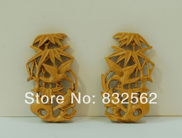 Bamboo birdcage decoration wood carving elegant handmade