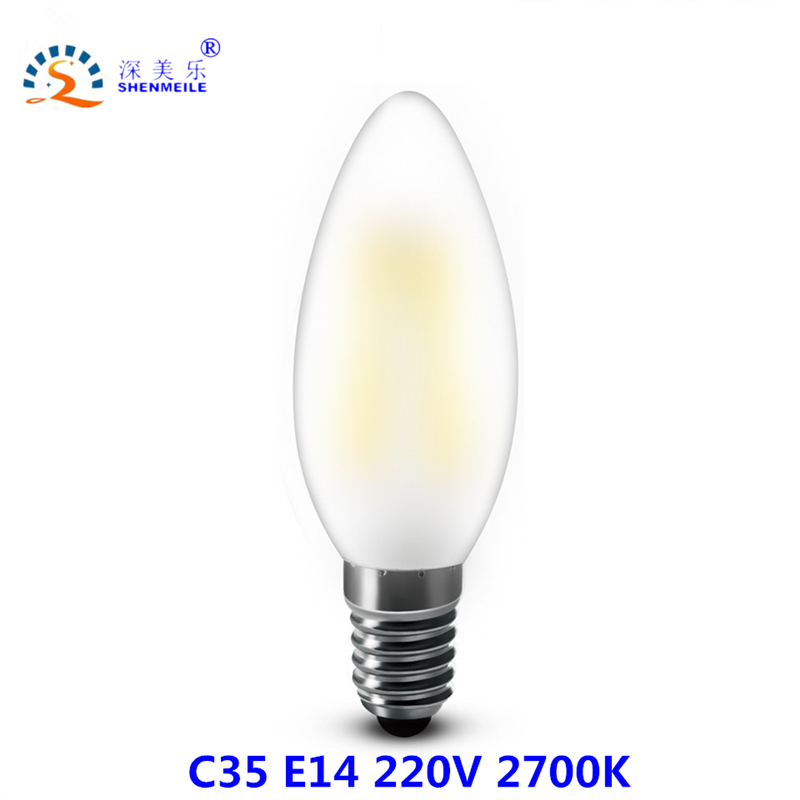 RXR B10 LED candle bulb 220V E14 6w C35 Bullet Tip Frosted Dimmable LED Filament Candle bulb Ampoule LED Light bulbs lamp
