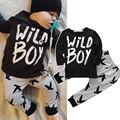 Дети Новорожденных Мальчиков Одежда С Длинным Рукавом Футболки Топы + Брюки 2 шт. Наряды Набор