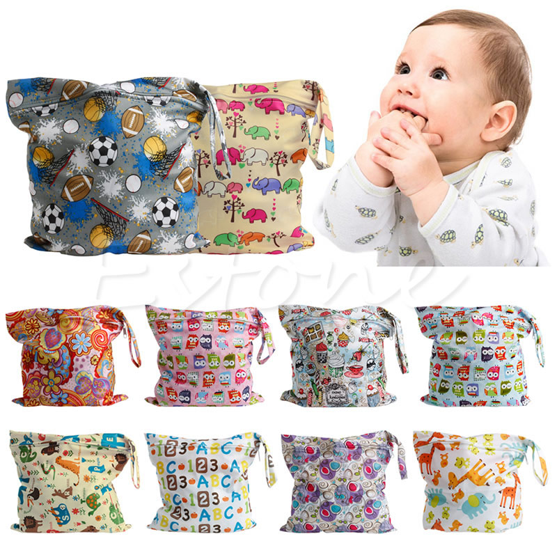 Baby Protable Nappy Zipper Diaper Bag Washable Nappy Wet Dry Cloth Waterproof ...