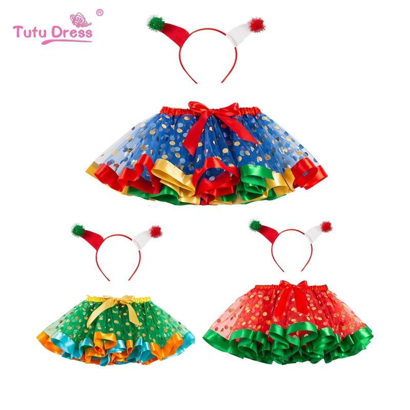 Kids Tutu Skirt Christmas Red Green Tutu PettyFree Headband Polka Dot Skirt Princess Halloween PartySummer Kids Girl Clothing in Skirts from Mother Kids