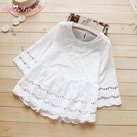 Summer New Style Women Blouse Mori Girl Hollow Out Crochet Lace Cotton White Shirt Sweet Princess