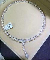 Потрясающее 9 10 мм AAA натуральное Южное море белое жемчужное ожерелье 24 дюймов серебро