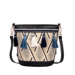 2019 Women Retro Tassel Woven Straw Bag Leather Handbags Crossbody Summer Boho Beach Shoulder Bags Luxury Sac a Main Lady Totes
