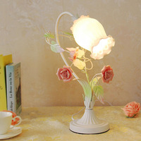 Green Desk Lamp E27 Contemporary Flower Table Lamps 110 220v Modern Simple Touch Switch Button Table Lights Luminarias
