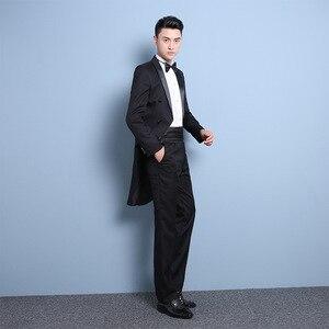 Image 5 - PYJTRL New Plus Size S 4XL Mens Classic Black White Shiny Lapel Tail Coat Tuxedo Wedding Groom Stage Singer Four Piece Suit