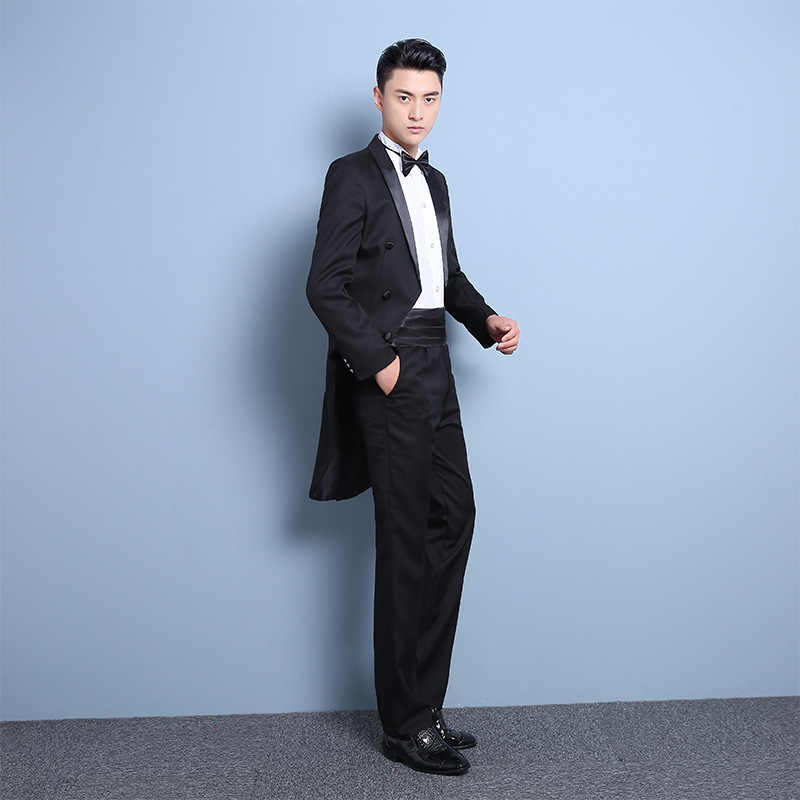 PYJTRL New Plus Size S-4XL Mens Classic Black White Shiny Lapel Tail Coat Tuxedo Wedding Groom Stage Singer Four Piece Suit
