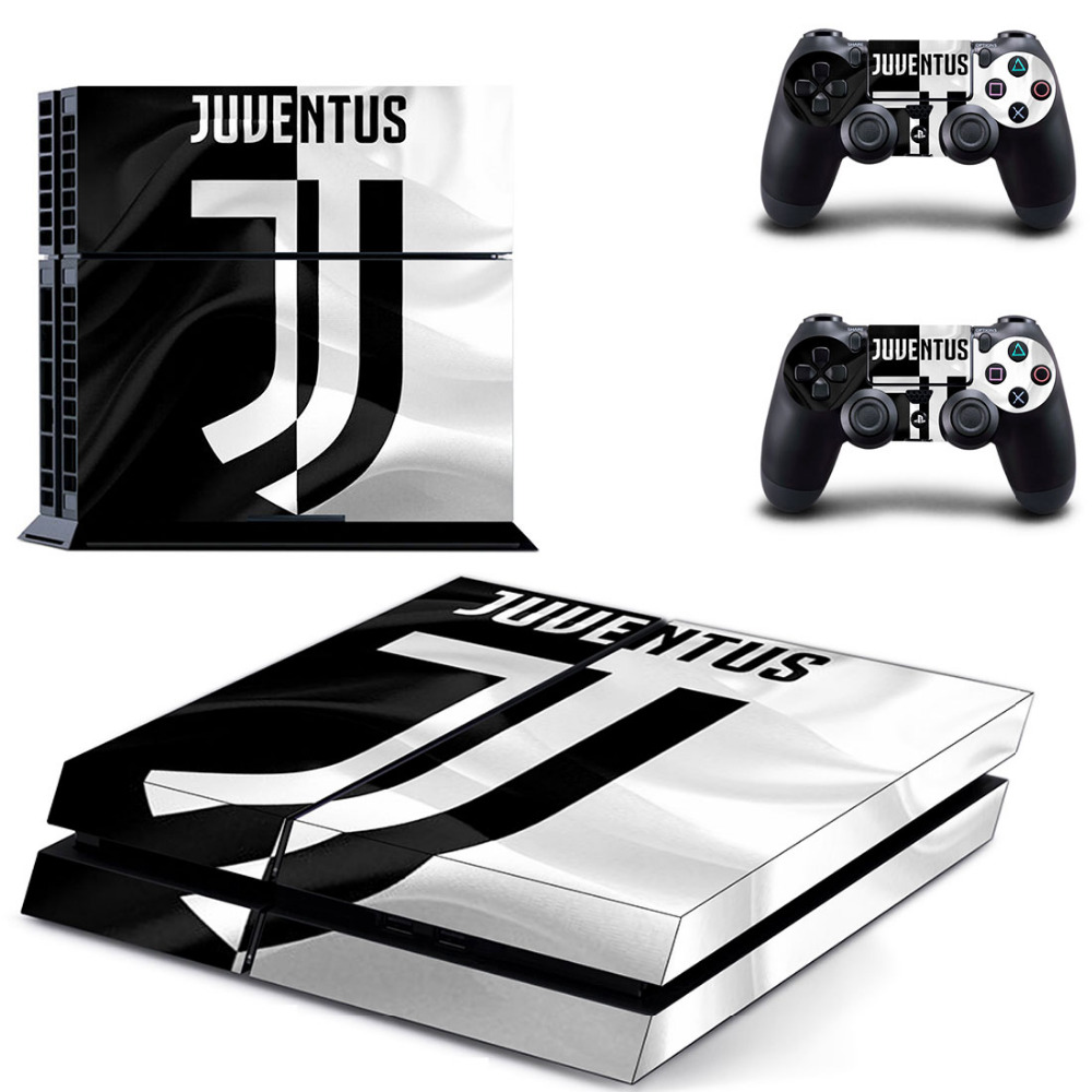 Juventus Football Team PS4 Skin Sticker Decal for Sony PlayStation 4 Console and 2 Controller Skin PS4 Sticker Vinyl Accessory