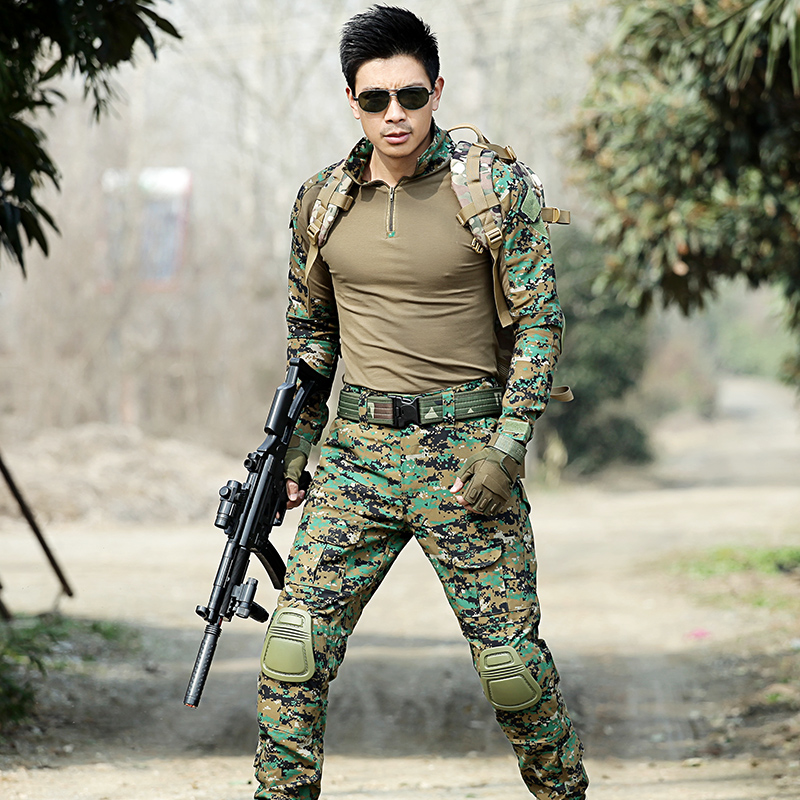 Men Hunting Clothes Jungle Camouflage Multicam Suits Combat Outfit Uniforms Army Fans Frog Suits Military Tactical CS Sets men s hunting clothes combat us uniforms outfit ruin camouflage military suit multicam army tactical fatigues frog combat sets