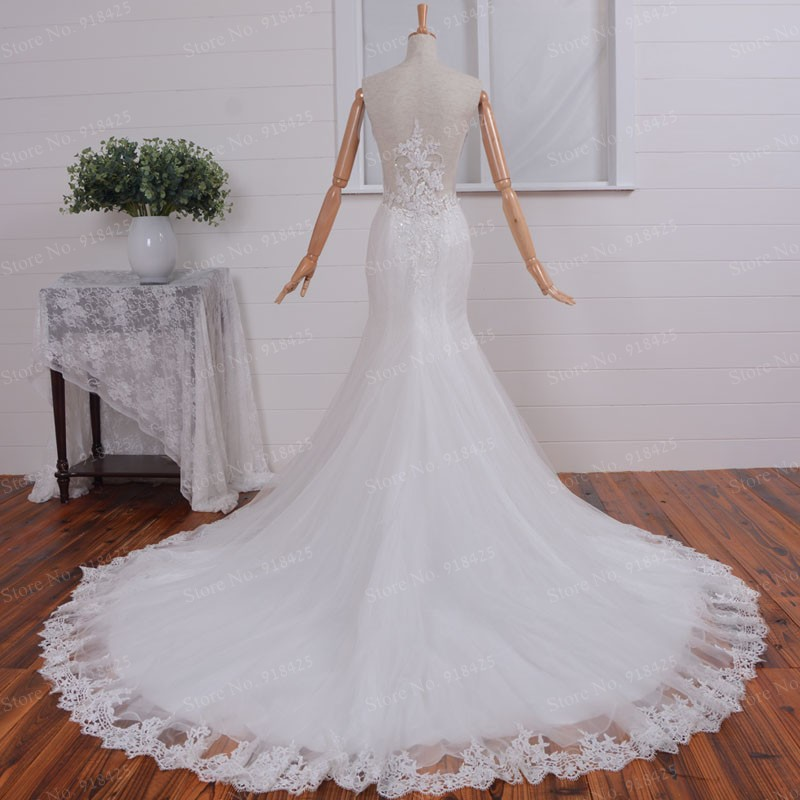 Custom Size V Neck Real Picture Lace Wedding Dresses 2017