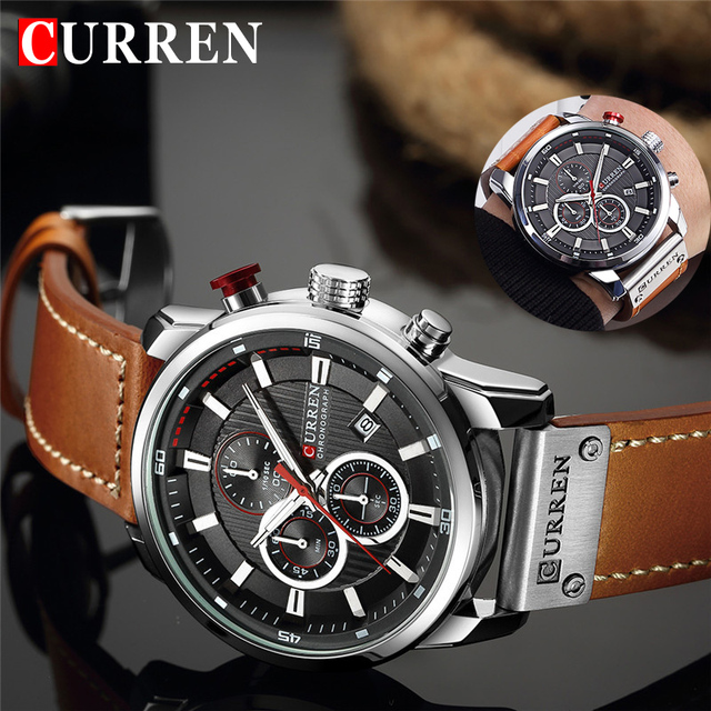 a25315fff Top Brand Luxury Chronograph Quartz Watch Men Sports Watches Military Army  Male Wrist Watch Clock CURREN relogio masculino 8291