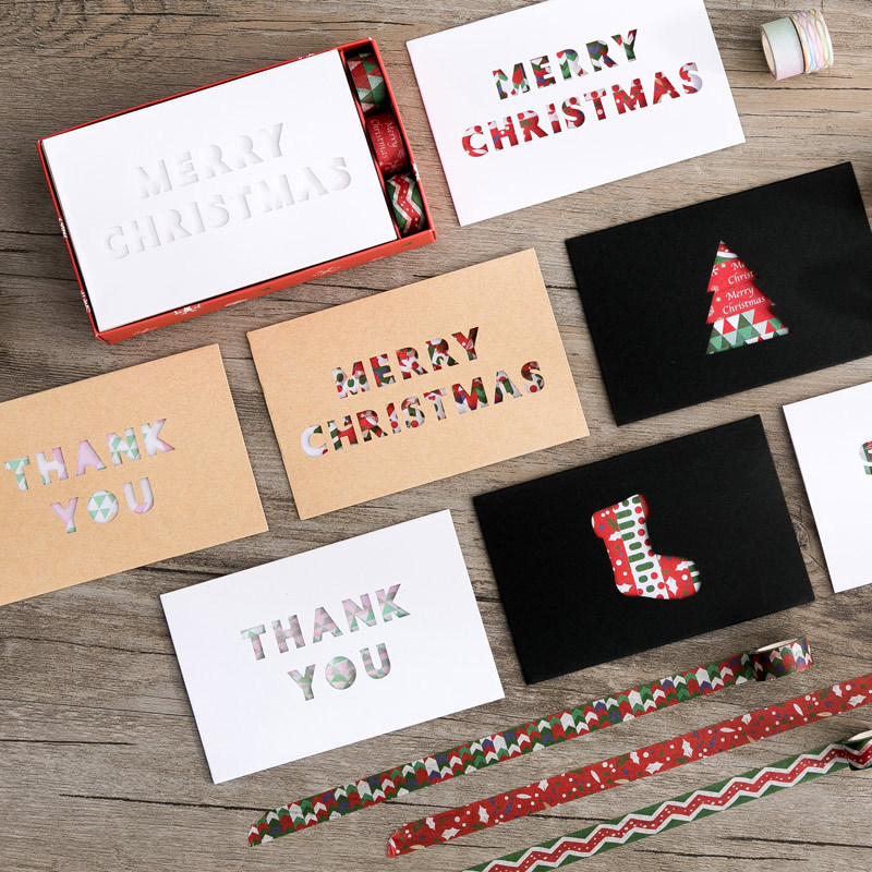 1 Set=3 Mini Tape +3 Cards + 3 Envelopes Merry Christmas Happy Birthday Best Wishes Love You Thank You Paper Letter Set