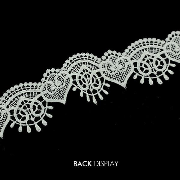 90mm x 2 Large,White Guipure Lace,Applique,trimmings,Wedding-1//2 Heart Motifs