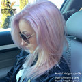 7A Balayage Luz Púrpura Del Pelo Humano Remi Pelucas de Encaje Pastel Rosado Moda Peinado Pelucas Del Pelo Humano Del Frente Del Cordón Pelucas