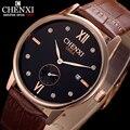 4 colores pueden elegir chenxi nueva marca a prueba de agua calendario de cuero relojes de pulsera de los hombres de línea pequeña puede trabajar de cuarzo de los hombres reloj