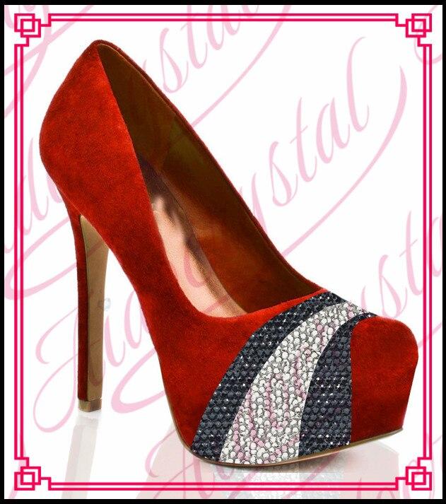 Aidocrystal Handmade Fancy 16cm Latest Style Red High Heel Crystal Bridal Wedding font b Shoes b
