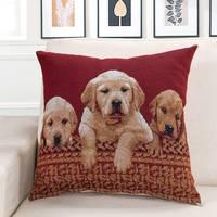 45cm 45cm Pet Dog Pattern Printed Linen Cotton Pillow Square Sofa Pillow Cat Cushion Decorative Pillows