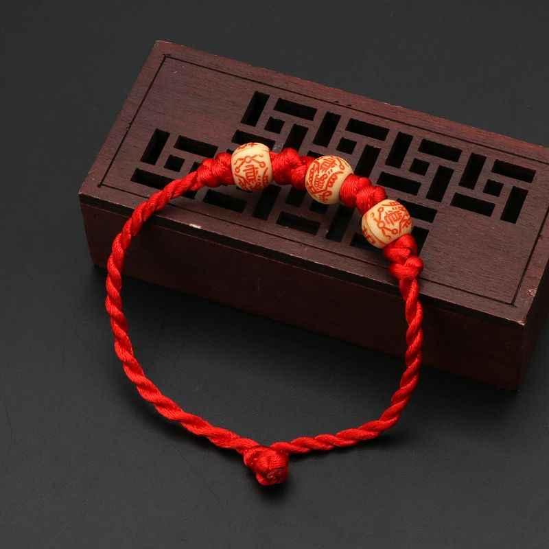 בעבודת יד קבלה אדום מחרוזת קלועה מזל צמיד הגנה טוב מזל קמע תכשיטי מעודן צמיד חג המולד מתנות