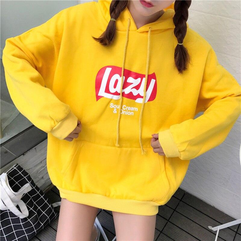 Kpop hause Neue Mode harajuku stil faul offbeat um Bluse sweatshirt frau warme hoodie kühle