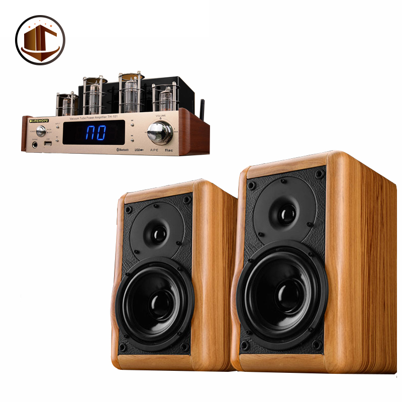 A2 Wood 1 Pair 5 Inch Bookshelf Speakers Hifi Active Amplifier Top Sound Meeting Room Home Theatre 2.0 Multimedia Speaker System lonpoo home theatre bookshelf speaker pair 75w classic wooden passive speakers 4 inch carbon fiber woofer and silk dome tweeter