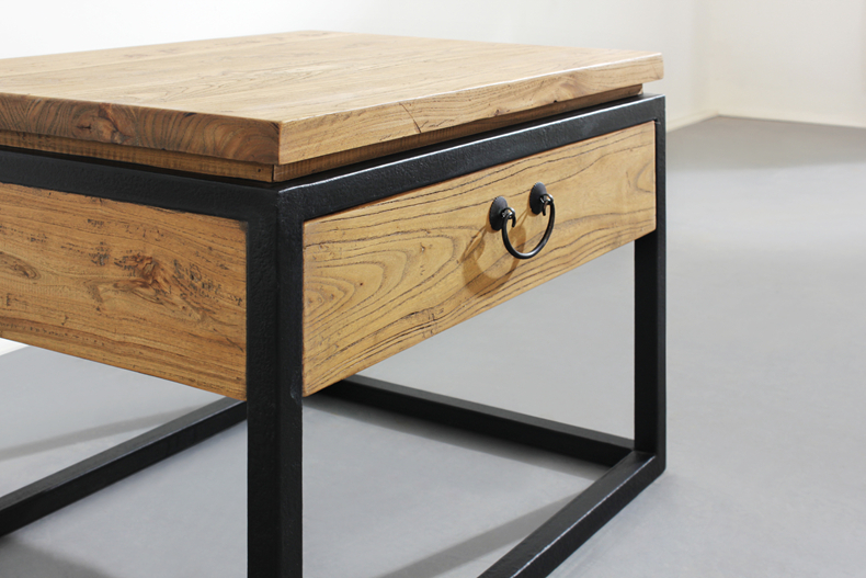 American Country Furniture, Wrought Iron Wood Side Table Nightstand Phone  LOFT Upscale Coffee Table Bedside Tables In Laboratory Furniture From  Furniture On ...