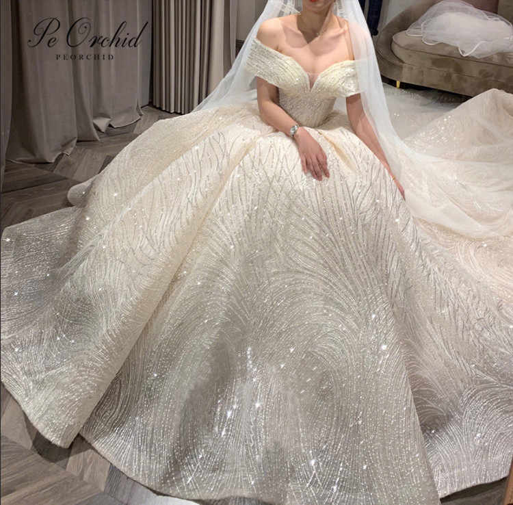 PEORCHID Luxury Princess Wedding Dress Ball Gowns For Brides Lace Sequin Off Shoulder Bridal Dress 2019 New Robe Mariage Femme