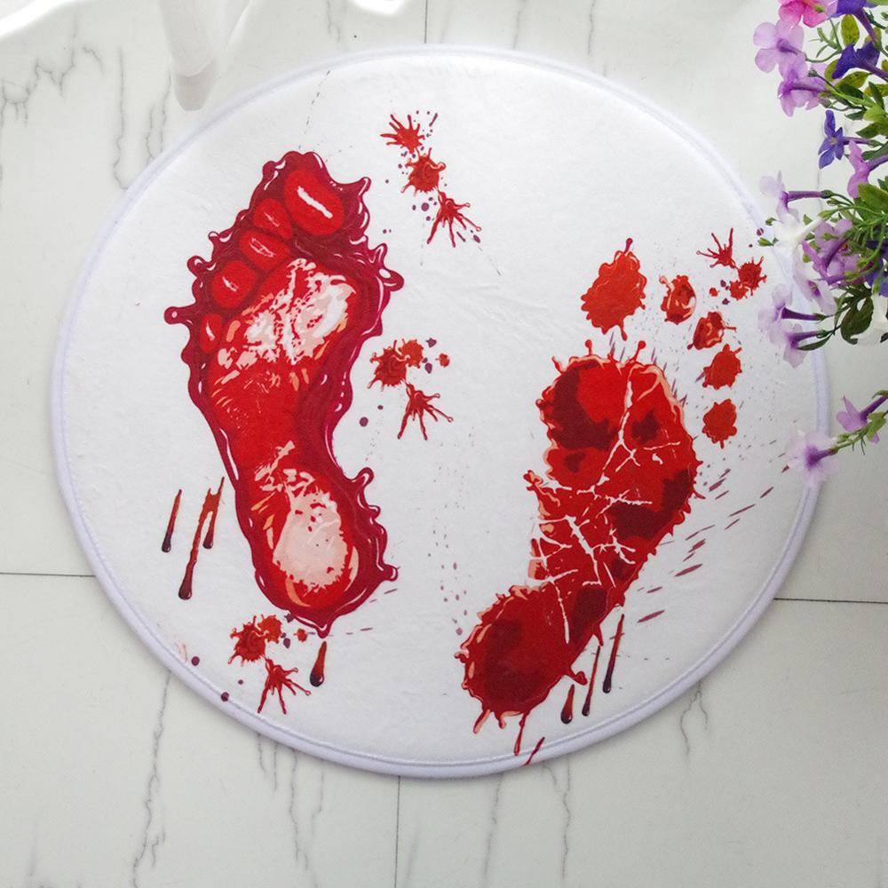 Novelty Round blood footprints living room bedroom computer chair hanging basket carpet floor Mat Doormat Terror decoration Rug