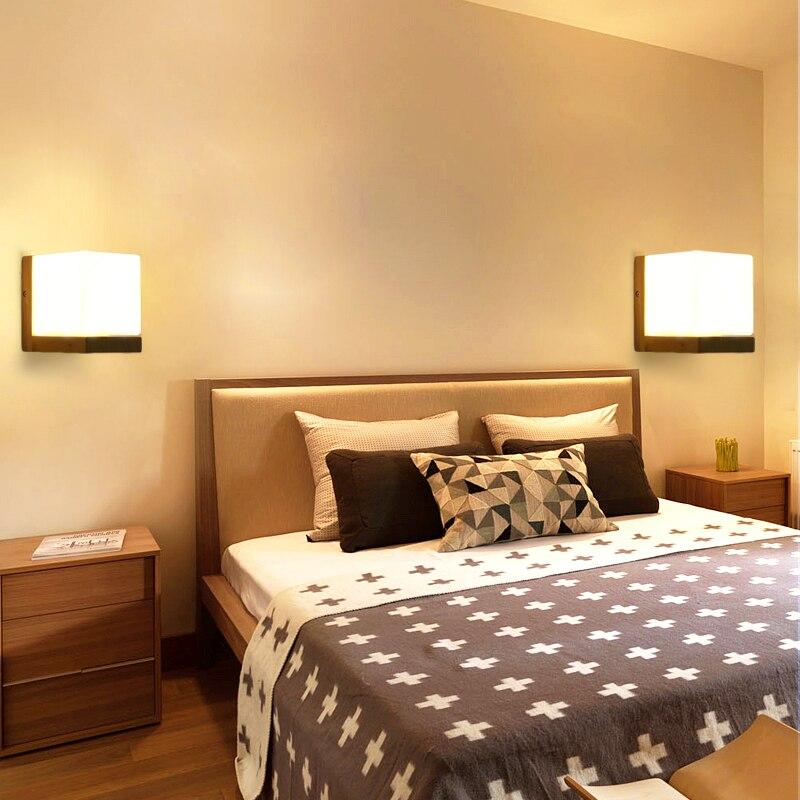 Современный светильник бра Спальня ночники проход дерева светодиодные лампы китайской гостиной коридор Light Hotel творческих настенные свети...