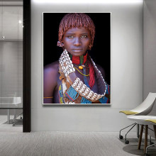 2019 Best Seller Black African Woman Oil Painting on Canvas Posters and Prints Scandinavian Wall Art Picture for living room(China)