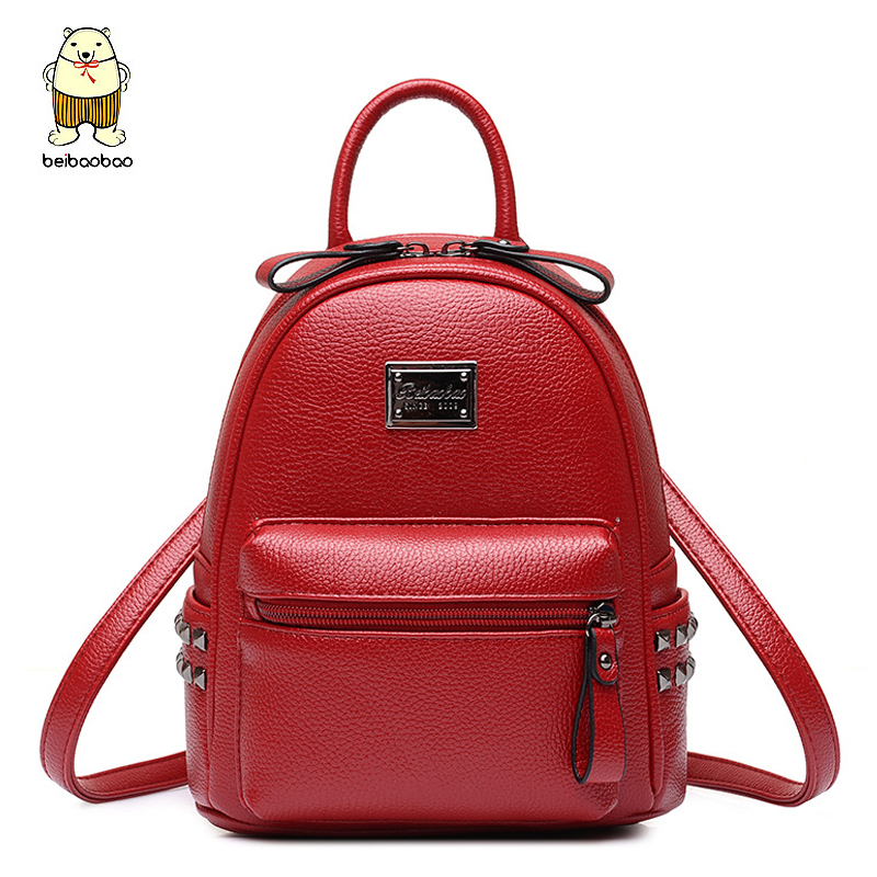 Beibaobao Women Backpack high quality School Bags for Teenagers girls preppy leather Backpacks Bookbag travel bag 2017 b031/b