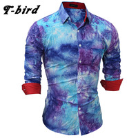 T Bird Brand 2017 New Men Shirt Tie Dye Dress Shirt Long Sleeve Slim Fit Camisa