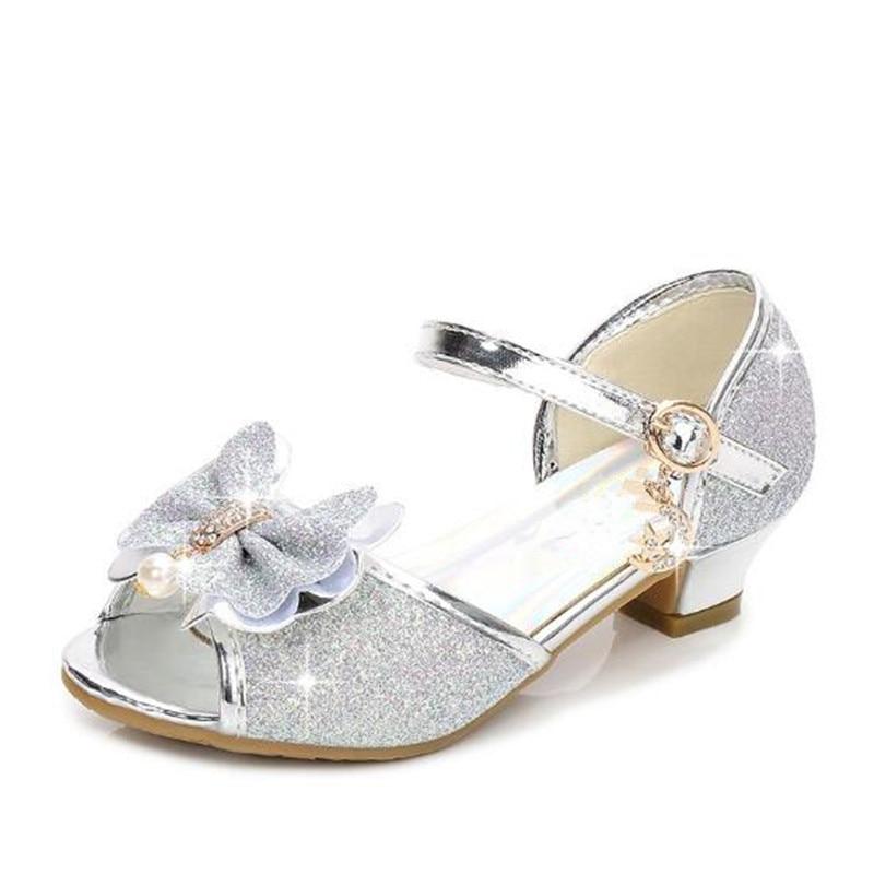 Kids Shoes Sandals Girls Princess Glitter Bowknot Block Heel High Heel Summer