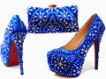 Italin Wedding Shoes Customized Sparkly Royal blue High Heels Platform Party Evening Shoes Italian Shoes And Bag Set G14