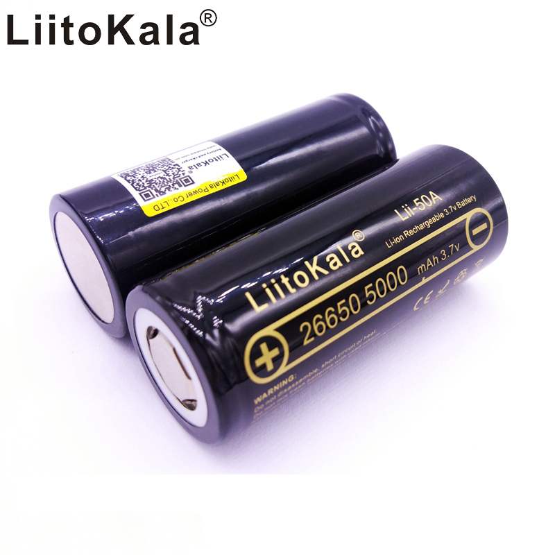 HK LiitoKala lii-50A 26650 5000mah lithium battery 3.7V 5000mAh 26650 rechargeable battery suitable for flashligh NEW