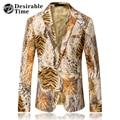 Men Tiger Print Blazer Designs 2017 Fashion Mens Jackets and Coats Slim Fit Casual Velvet Blazers for Men DT519