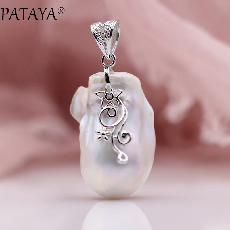 PATAYA New White Baroque Irregular Natural Pearls Pendant 925 Sterling Silver Women Wedding Fine Luxury Flowers Luxury Jewelry