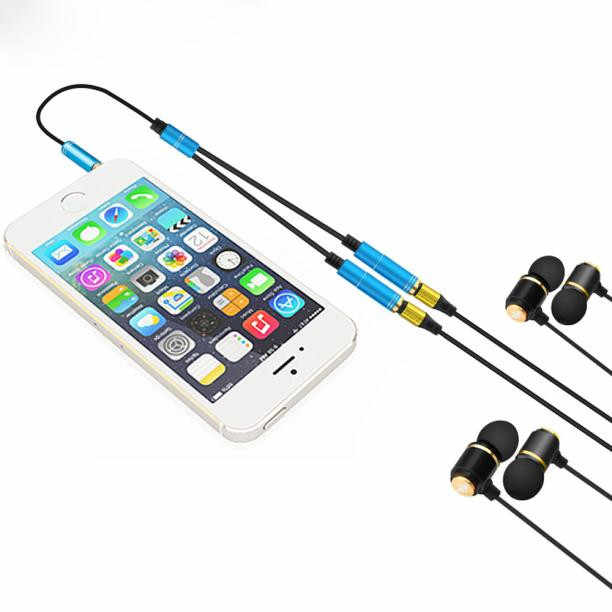 3 5 mm Dual Audio Line Headset Jack Earphone Splitter One In Two Couples  Lovers Adapter For iPhone MP3 MP4 Media Player #UO